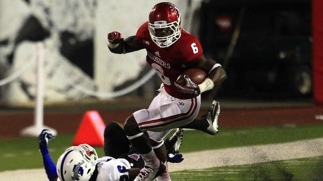 Tevin Coleman looks to roll over the Sycamores