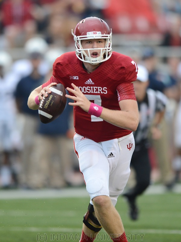 Nate Sudfeld could not get in rhythm against Indiana State.  Photo Credit: Indiana University