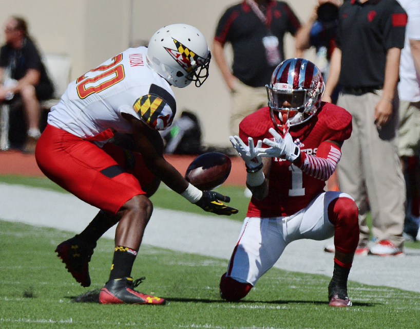 Shane Wynn drops a crucial pass that stalled an Indiana drive on Saturday afternoon  Image Source: Hoosier Scoop