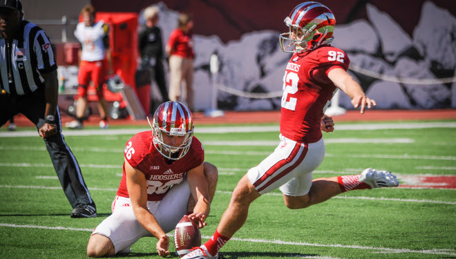 Griffen Oakes was named Big Ten Special Teams Player of the Week for his record setting performance against Maryland. Image Source: Indiana University Athletics.
