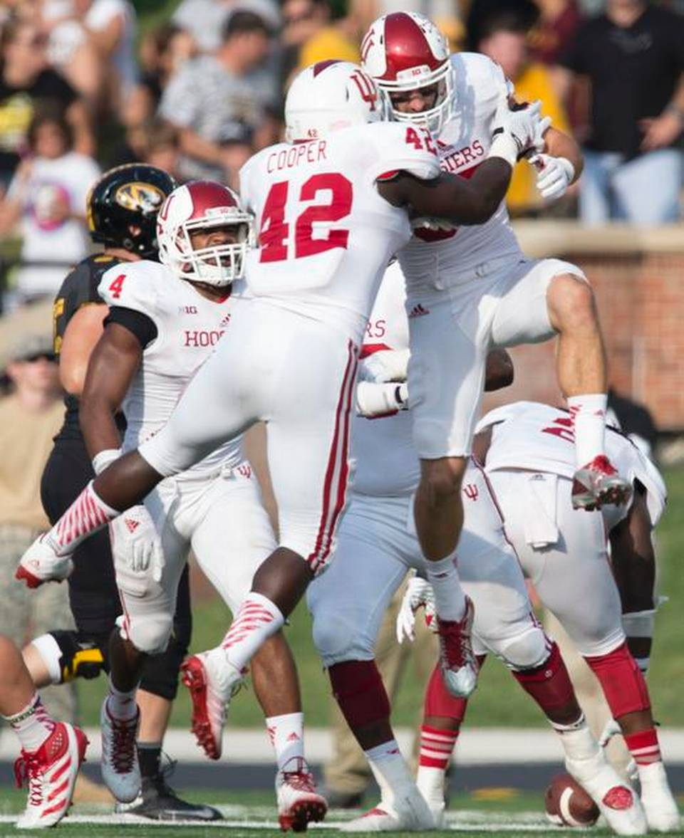 David Cooper (42) and Mark Murphy (37) celebrate an interception against Missouri.