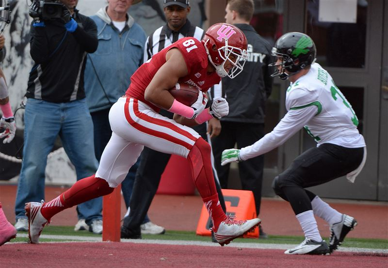 Jordan Fuchs (81) scored the first touchdown by a Hoosier tight end in 2014 in Saturday's 49-24 win.