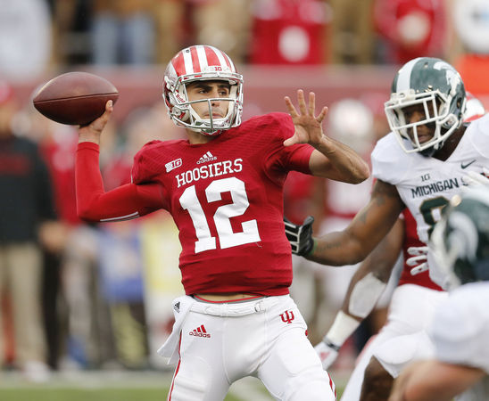 True freshman Zander Diamont was thrown to the wolves in his first career start for IU.  Image Source: Mlive.com