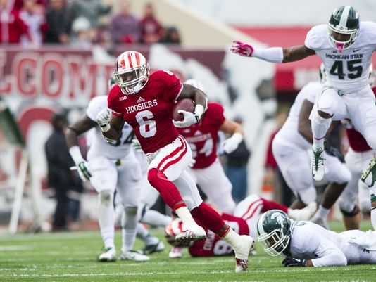 Tevin Coleman will try and do what he does best when the Hoosiers invade Ann Arbor and that is leave defenders in the dust and scoring touchdowns. Image Source: IndyStar.com