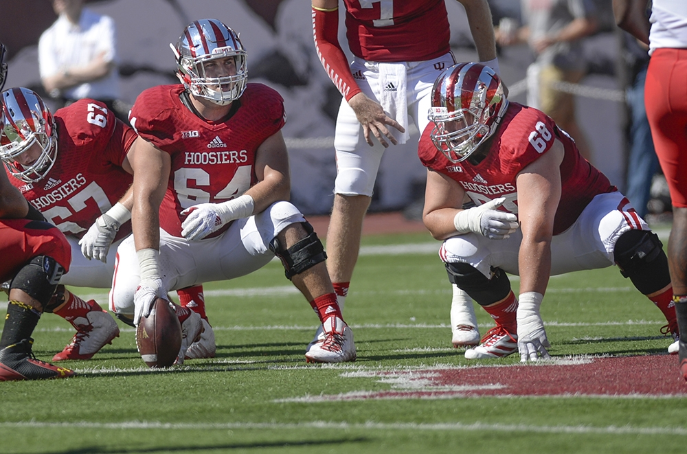 Collin Rahrig (64) has been a corner stone of the Indiana offensive line for the last four years.  Image Source: IDSNews.com