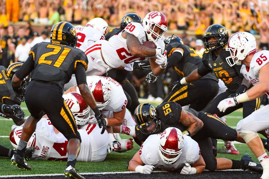 D'Angelo Roberts dives over the pile to score the go ahead touchdown against Missouri. The Hoosiers upset the Tigers 31-27. Mandatory Credit - Jasen Vinlove-USA TODAY Sports