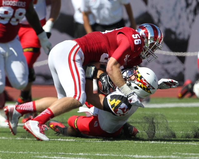 Hoosiers' Nick Mangieri brings down Maryland Quarterback C.J. Brown. Mangieri returns for his senior in the defense's critical bandit position. Photo Credit –USA Today