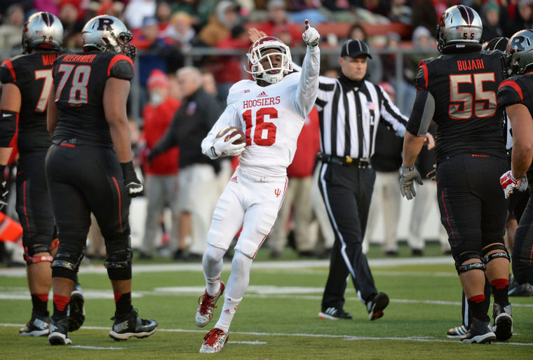 Cornerback Rashard Fant celebrates a fumble recovery against Rutgers. Fant will likely see increased playing time in 2015 with the departure of Tim Bennett and Michael Hunter. Photo Credit - HeraldTimes.com