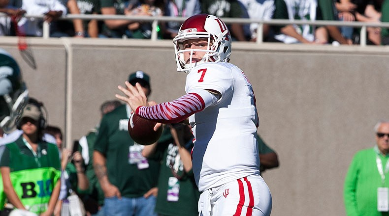 Senior to be Nate Sudfeld returns to the field this spring looking to shake off the rust from left shoulder surgery. Image: Athlon Sports