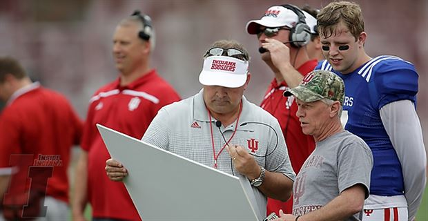 Head coach Kevin Wilson allows a Hoosier fan to call plays at the end of the first half. Photo: 247 Sports.