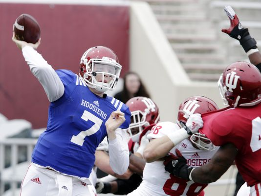 Nate Sudfeld was back in action for the first time since last October at Iowa. Photo: IndyStar.com