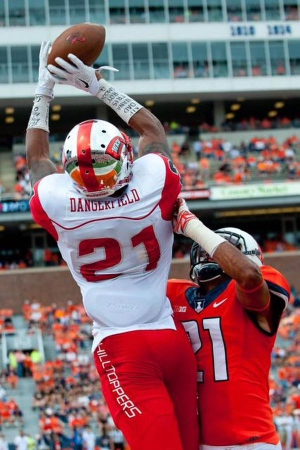 Senior Wide Receiver Jared Dangerfield will attempt to exploit the Hoosiers young Secondary when the two match-up in week three at Memorial Stadium. Photo Credit - Bradley Leeb - AP