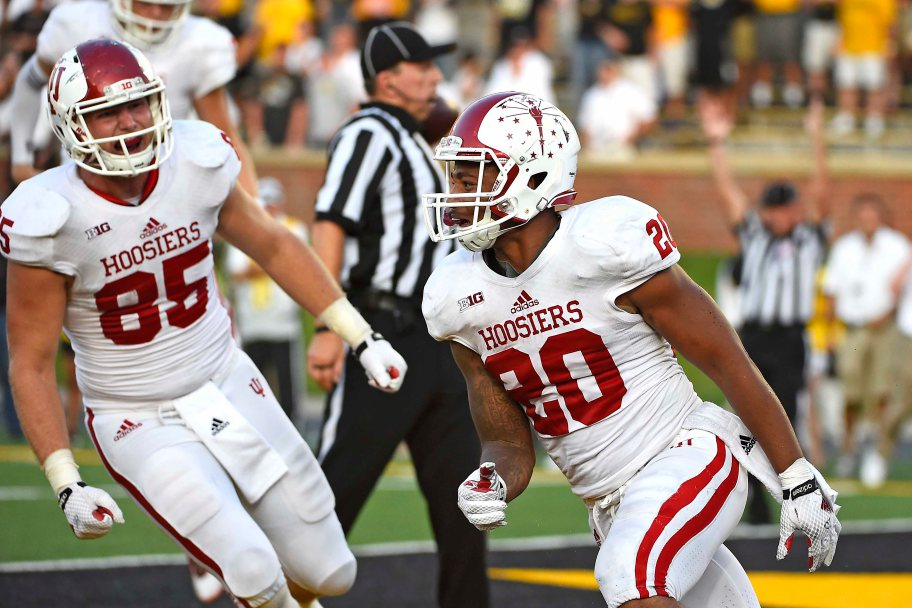 D'Angelo Roberts celebrates IU's biggest win in the Kevin Wilson Era beating Missouri 31-28.