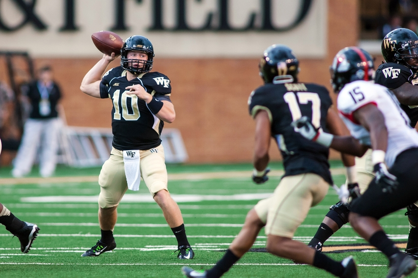 Wake Forest quarterback John Wolford will be a year more experienced in leading an offense.  Image: OldNorthBanter.com