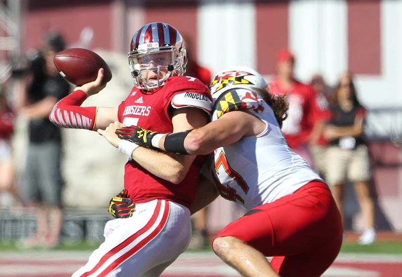 Hoosier quarterback Nate Sudfeld was under duress the entire game from Maryland's pass rush  Image: Hoosierstateofmind.com
