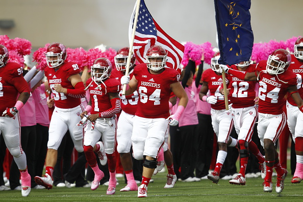 Collin Rahrig leads the Hoosiers out on the field in 2014.  Image: Getty