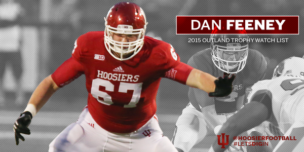 Dan Feeney anchors a stout offensive line for the Hoosiers. Image: IUHoosiers.com
