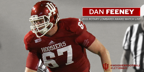 Dan Feeney is peppering the award watch lists this summer.  Image: IUHoosiers.com