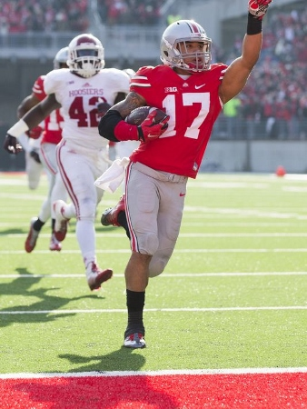 Jalin Marshall came up huge in the Buckeyes victory over the Hoosiers last fall, scoring four second half touchdowns. (Greg Bartram/USA TODAY Sports)