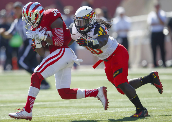 Wide Receiver Damon Graham runs upfield against Maryland last fall. PHoto Credit -Michael Hickey/Getty Images North America
