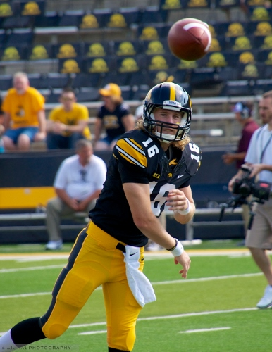 C.J. Beathard will be the man at quarterback this fall for the Hawkeyes, demonstrating a shift from a more underneath passing attack to one that is more vertical. Photo: WebCentrick Photo