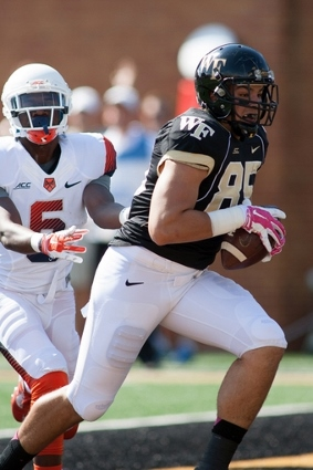 Cam Serigne was one of the few bright spots on offense for the Demon Deacons on offense in 2014.Mandatory Credit: Jeremy Brevard-USA TODAY Sports