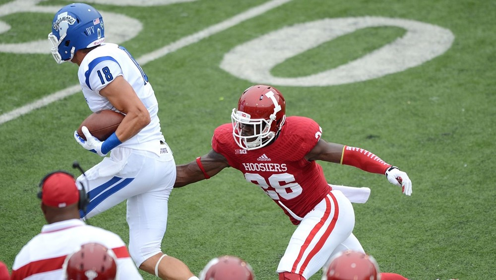 Sophomore Kiante Walton closes in on an Indiana State wide receiver during last season's matchup with the Sycamores. The talented defensive back is one of the many options could employ at Safety this fall. - Photo Credit: Indiana Athletics
