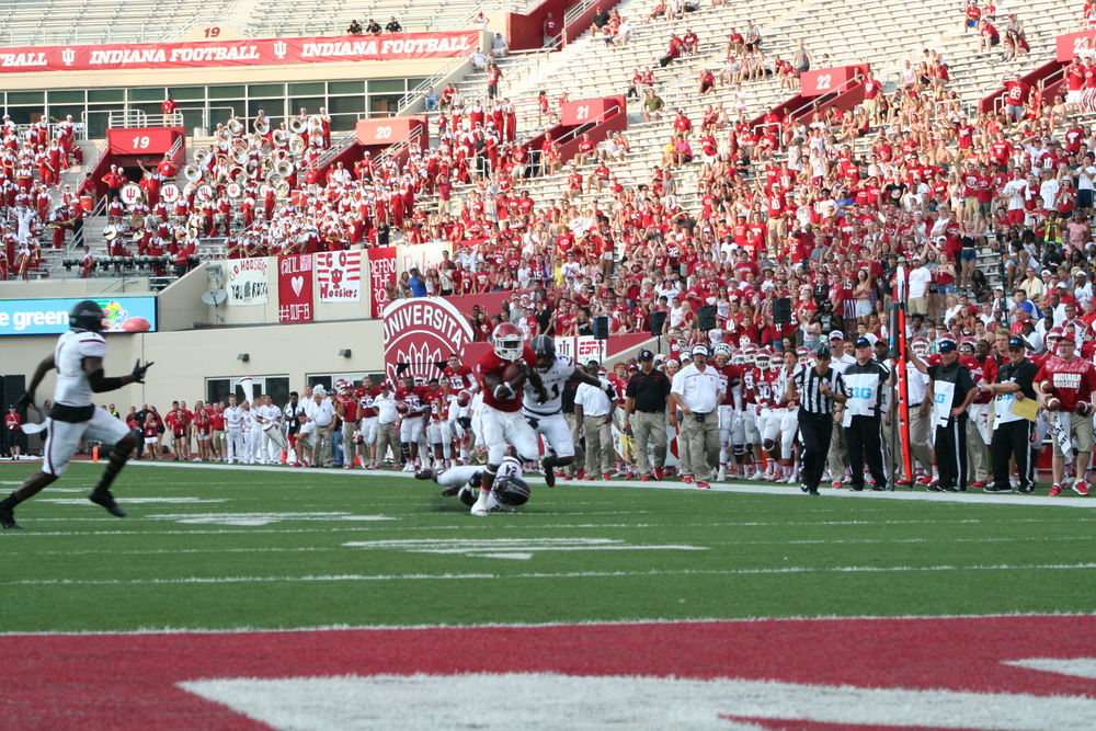 Wide receiver Ricky Jones' 71-yard catch and deke set up IU's game-winning score late in the fourth quarter.  Image: Cam Koenig HoosierHuddle.co