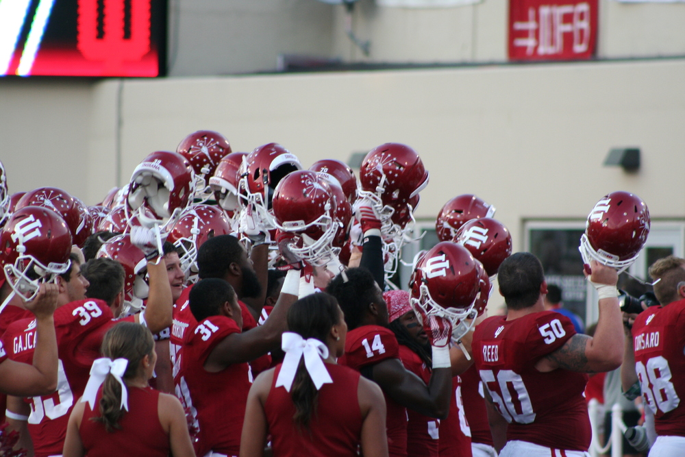 The Hoosiers celebrate their close victory over the Salukis last Saturday. If IU is to come out victorious this weekend against FIU, they'll need to fare better on first and second down. Photo Credit -Cam Koenig HoosierHuddle.com