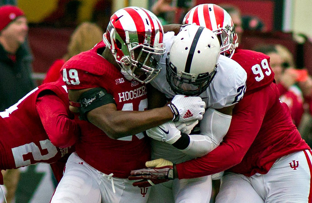 Greg Gooch and the Indiana defense will have to put the heat on Penn State's offense of Saturday in order to pull of the upset win. Image: CollegeFootballNews.com
