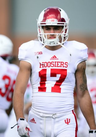 Indiana lost wide receiver Isaac Griffith for the year after he suffered a knee injury at Penn State.  Image: Credit: Andrew Weber-USA TODAY Sports