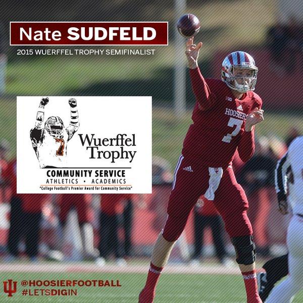Indiana quarterback Nate Sudfeld is having an outstanding senior season. image: IUHoosiers.com