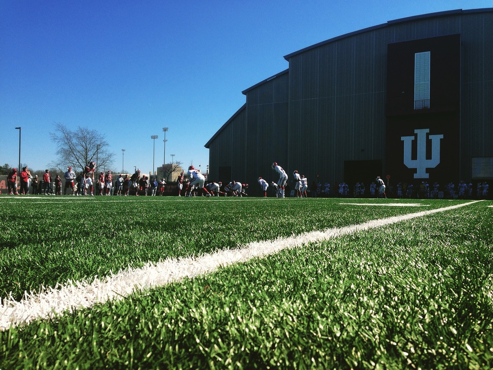 The Hoosiers hit the practice turf behind Memorial Stadium for their sixth practice of the spring on Saturday.  Image: Nick Holmes, HoosierHuddle.com