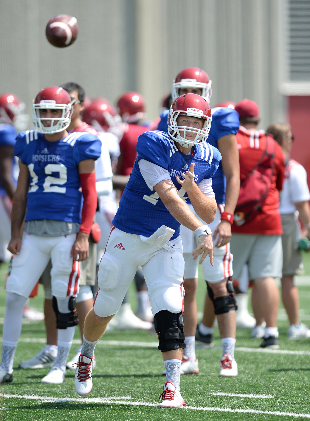 Danny Cameron (18) and Richard Lagow have seperated themselves from the other quarterbacks halfway through spring practice.  Image: IUHoosiers.com