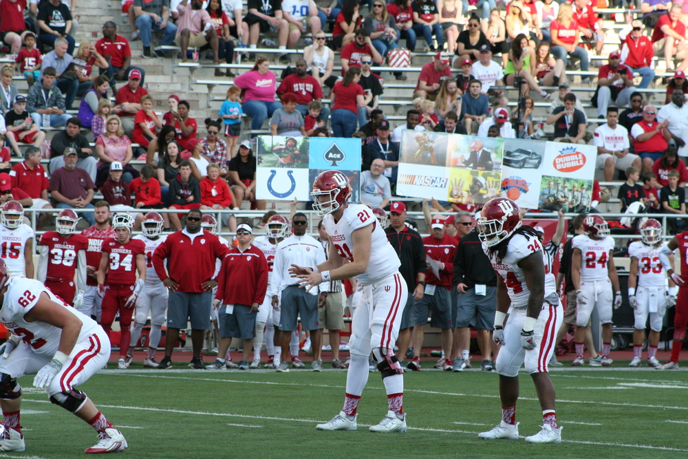 Quarterback Richard Lagow got the majority of the snaps with the first team offense in Friday's spring game.  Image: Cam Koenig, HoosierHuddle.com