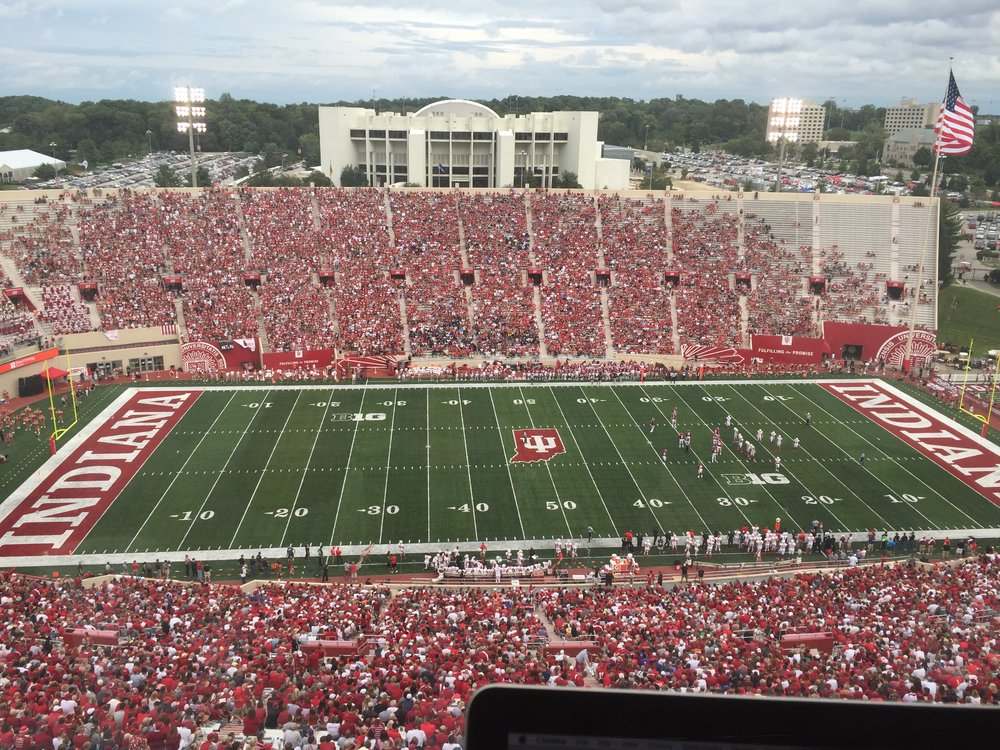 The Indiana Student Section (left side of the opposite grandstand) had a great turnout for the Hoosiers home opener.However, only a fraction stayed to see it all the way through. Image: Sammy Jacobs, HoosierHuddle.com
