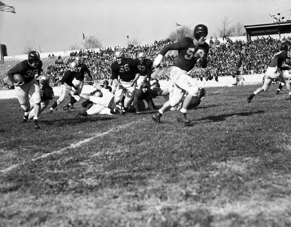John Tavener (54) clearing the way against Iowa in 1944. Image: IUArchives