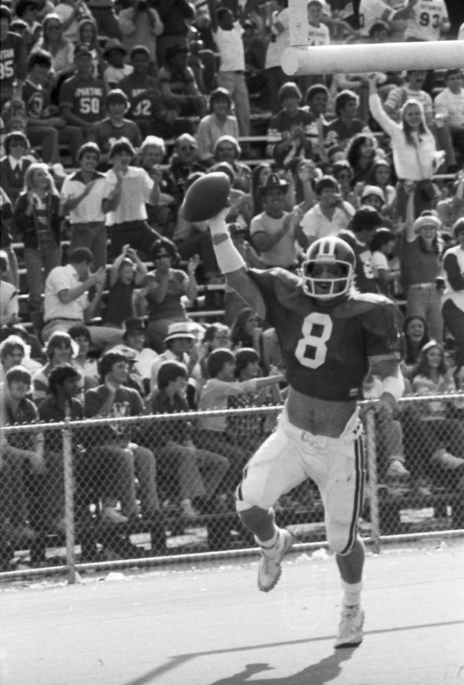 Tim Wilbur comes up with the ball in a game at Memorial Stadium Image: IU Archives