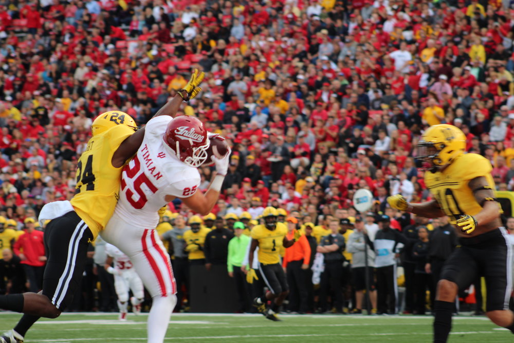 Luke TImiam hauls in a touchdown pass against Maryland Image  Sarah Miller  Hoosier Huddle 73f455933