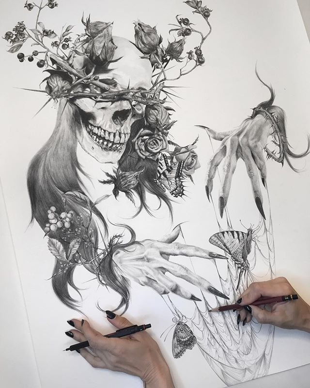 🕸Tristeza🕸I have this large 18 x 24 inch giclée print on watercolor paper that I'm hand embellishing and will list tomorrow. I'm adding more webs and a black widow 🕷 to it so if you're interested in a one of a kind piece, keep an eye on my Big Cartel around 3 pm PST Tuesday. It was the first and only print made in this size. 🦋 #reaper #death #darkart #graphite #butterfly #blackwidow #witch #arte #drawing #skull #anatomy #tattoo #realism