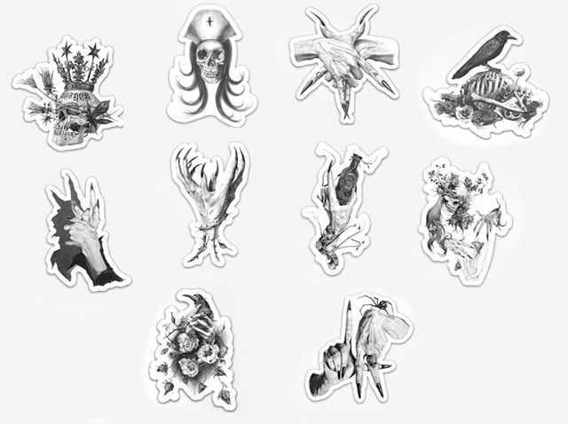Tomorrow at 3pm PST, I'll be offering this brand new sticker pack with 10 die cut #stickers of some of my #graphite drawings.  There will be 50 packs available for only $10 stupid dollars. Put them on your school books, your sketchbook, your skateboard, I don't know, anything you want. Each one is approximately 3 inches in size and on the next run, I'll be making larger singles. Thank you for your support and for sharing me with your friends. Much appreciated. #death #graphitedrawing #graphite #darkart #arte #reaper #skull #witch #occult #devil #nurse #drawing