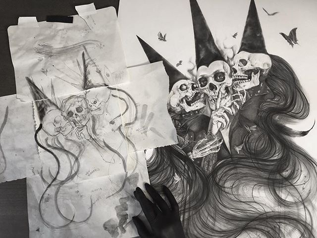 Thoughts become things. The quick idea purged on the left vs the final image as a print. I'm surprised at how close this one stayed to original concept. The one thing that kept changing was the headgear and you can see ghosts of it in the original drawing. This sketch and print will be going to a special follower who had the largest order this weekend. Thank you for your support and for keeping me busier than ever. I will have these limited edition prints available for pre-order tonight at 9 PST. #graphite #gift #drawing #darkart #reaper #death #darkartists #butterfly #moth #skull #tattoo