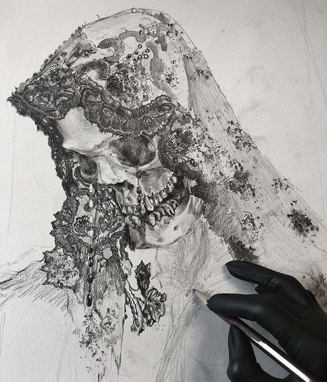 One of three focus points in this very large #drawing for my upcoming show @lethalamounts. Can you believe this will be my first solo show EVER? Never thought the day would come and I even entertained some weird fantasies about it happening after I was dead but I'm lucky enough to be witnessing this in my lifetime. Details and dates to come. #magick #graphite #darkart #darkartists #arte #reaper #occult #death