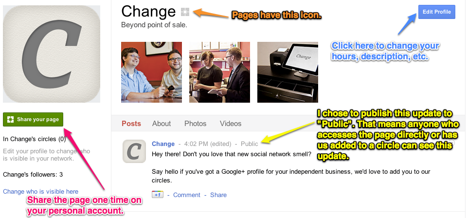 G+ Business Page Overview