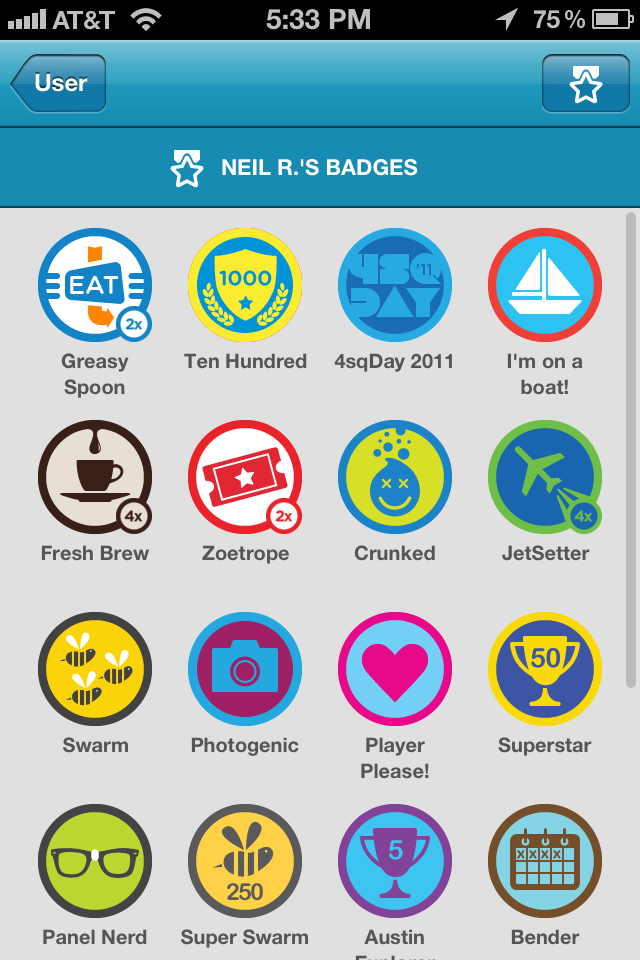 Screenshot of Neil's Foursquare Badges