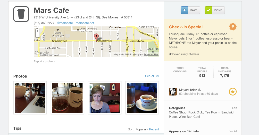 Mars Cafe's foursquare Page on foursquare.com