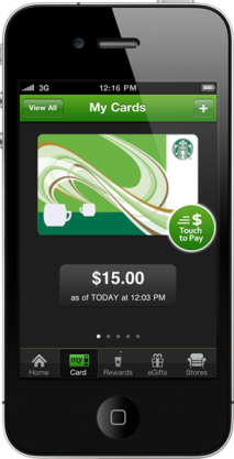 Starbucks App My Cards Screen