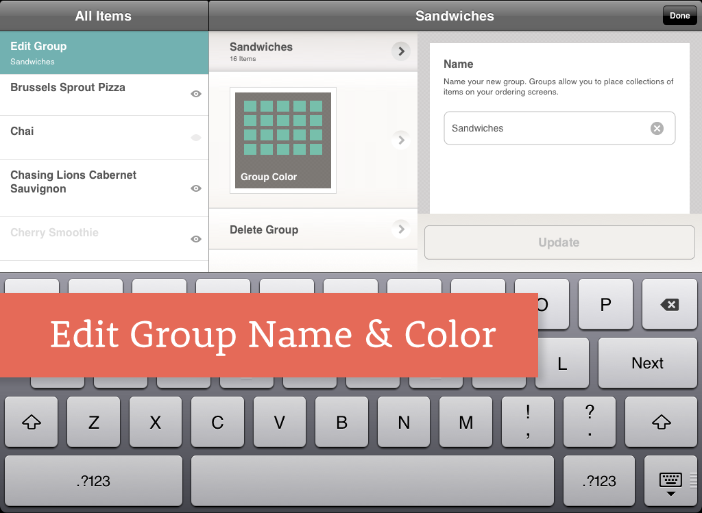 Change Edit Group Name and Color