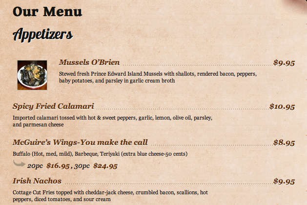 Happytables website just menu - PNG