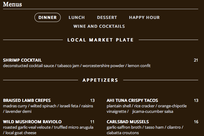 Locu Website Menu